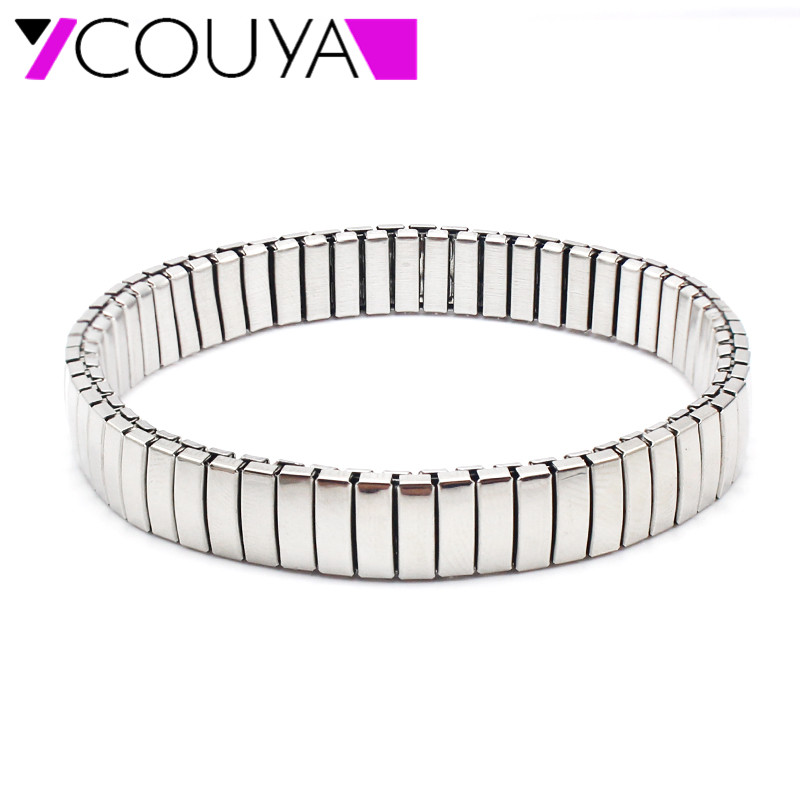 Baru Classic Stainless Steel Stretch Gelang & Bangles Perak Elegant Shiny Stretchable Watch Band Wristbands Factory Wholesale