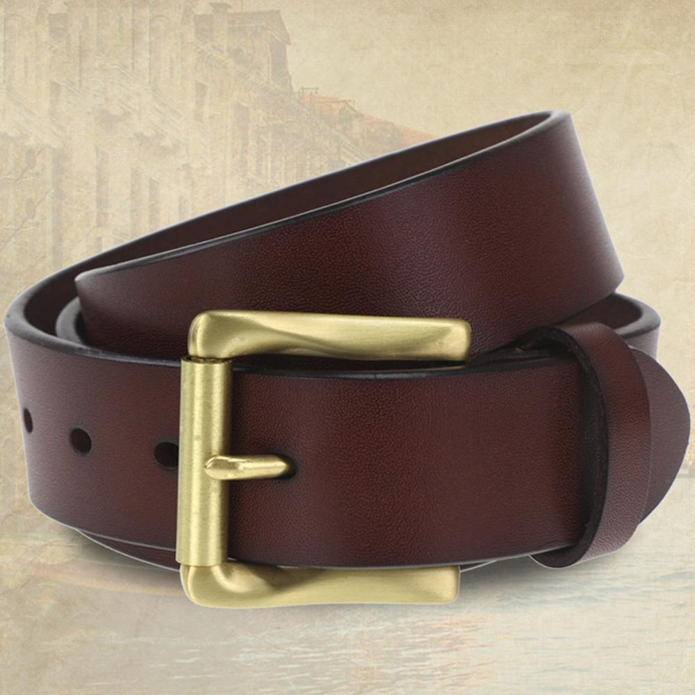 FAJARINA High Grade Quality Cow Skin Leather Mens Retro Brass Clasp Buckle Cowhide Accessories Fashion Belts for Men N17FJ532 in Men 39 s Belts from Apparel Accessories