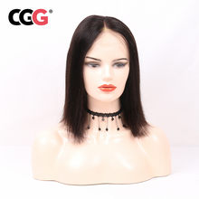 CGG Short BOB Wig With Baby Hair Natural Color Malaysian Remy Hair Straight Lace Frontal Human Hair Wigs 150% Density For Women(China)
