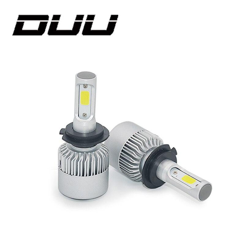 DUU Car Headlights Bulbs H7 H4 LED H8 H11 HB3 9005 HB4 9006 H1 H3 9012 H13 9007 S2 Auto Headlamp Fog Light COB Chip 12-24V 60W 2pcs h1 h3 h4 h7 h8 h11 h10 5202 9005 hb3 9006 hb4 led bulbs auto fog lights csp chip daytime running driving light 6500k white