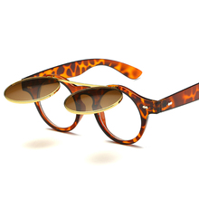 2017 Vintage Sunglasses Steampunk Costume Geek Doctor Style Round Circle Clamshell lentes Flip Up oculos Clear Lens Eyewear