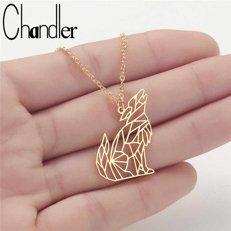 Chandler Stainless Steel  Origami Wolf Necklace Moon Howling Wolf Collars Handmade Geometrical Simple Short Chokers For Women