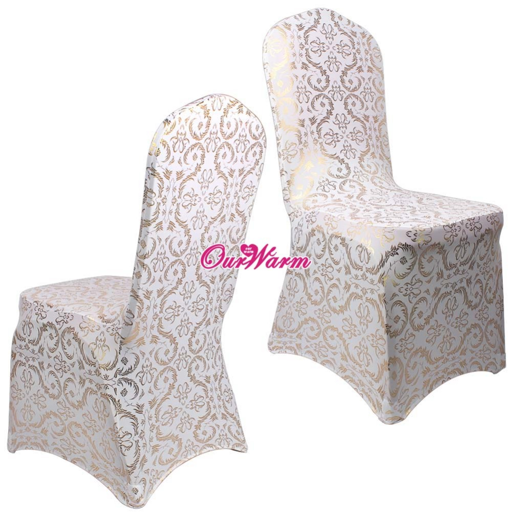 6Pcs Lot Spandex Chair Covers For Weddings Dining Cover Bronzing Gold Printed Banquet Party