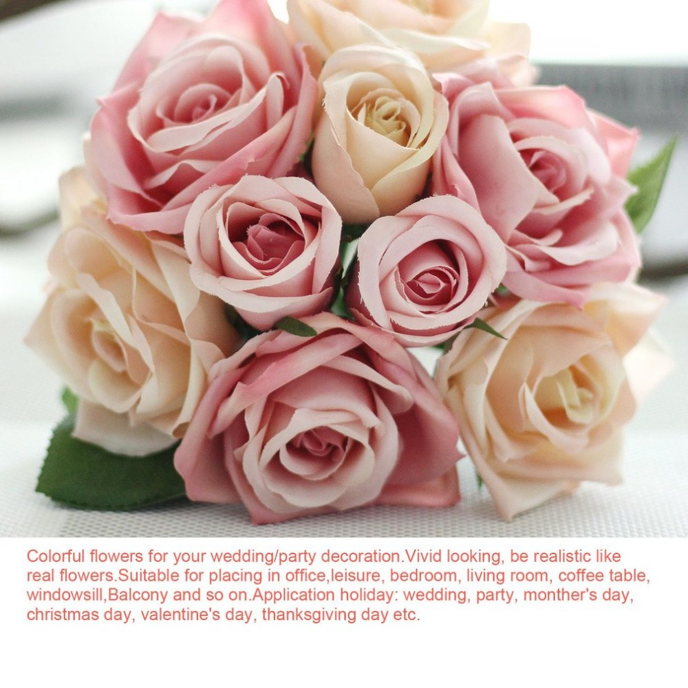 Cotton Flower Wedding Bouquet Roses Bunch Artificial Flower Fake ...