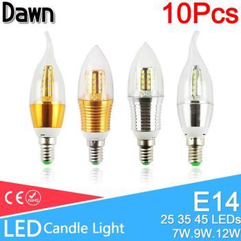цена на 10PCS Led bulb E14 3W 6W Led Lamp AC 220V 240V Candle Bulb 9W 12W Aluminum Cool Warm White Lampada Bombillas Lumiere led light