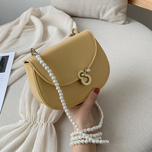 Saddle Beading Crossbody Bags For Women 2019 High Quality PU Leather Luxury Handbag Designer Ladies Pearl Shoulder Messenger Bag
