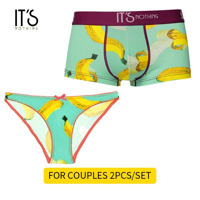 T'S rien marque BANANA 2019 Couple ensemble de sous-vêtements sous-vêtements Sexy glace soie hommes boxeurs femmes culottes de luxe Sexy Original