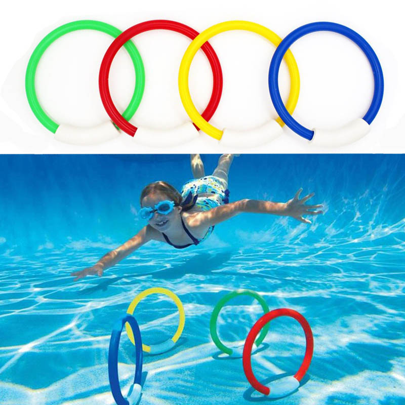 4pcs/set Kid Diving Ring Water Toys Underwater Swimming Pool Accessories Diving Buoys Four Loaded Throwing Toys For Children