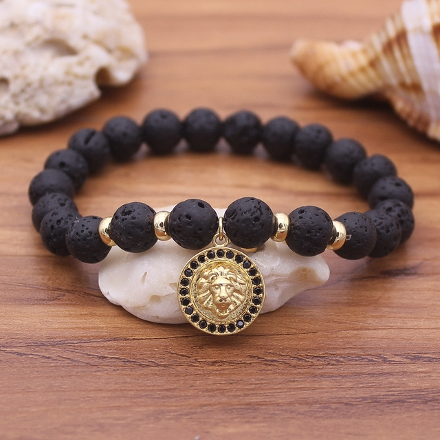 2019 Lion Lava Stone Beads Bracelet Men Strand Bracelets For Women Handmade Men