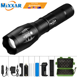 EZK20 Dropshipping 8000LM T6 LED Handheld Lanterna Tática Zoom Torch Light Camping Lâmpada para 18650 Bateria Recarregável AAA