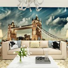 Modern 3D Wall Paper Stickers London Tower Bridge Photo Wallpaper Mural Living Room Bedroom Self Adhesive Vinyl / Silk Wallpaper(China)
