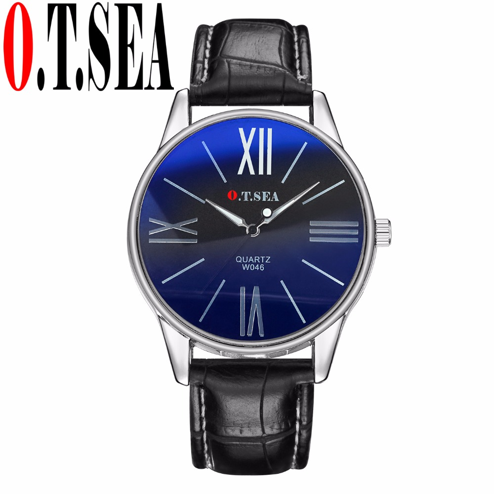 High Quality O.T.SEA Brand Blue Ray Glass Faux Leather Watch Men Military Sports Quartz Wrist Watches Relogio Masculino W046 durable watch men luxury brand relogio masculino men watch faux leather men blue ray glass quartz watch