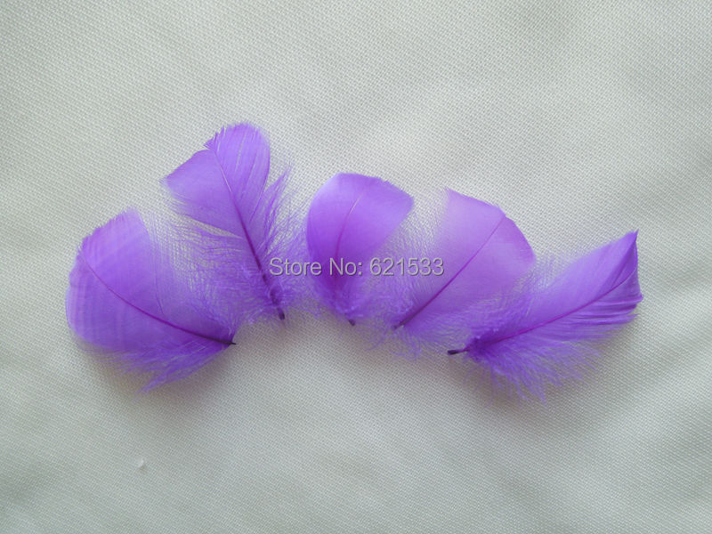 Wholesale! 500Pcs/Lot 4-6CM Purple Colour dyed Goose Feathers for Wedding,Hat,Hair accessories free shipping