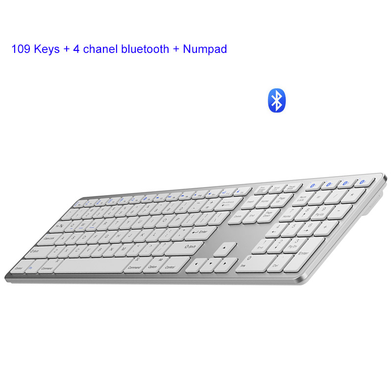 Fully Size 109 Keys Wireless Keyboard Android PC Bluetooth 3.0 Wireless Keyboards With Numeric Support For Apple Android Windows image