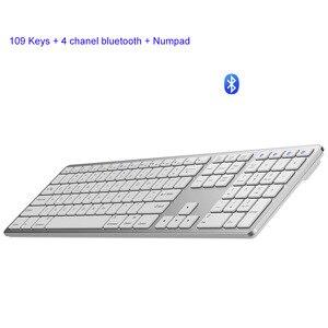 Teclado inalámbrico con 109 teclas, tamaño completo, Android, PC, Bluetooth 3,0, teclados inalámbricos con soporte numérico para Apple, Android y Windows