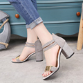 Summer Women's Casual Sandals Soft PU Thick Heel Sandals Metal Decoration Open Toe Brand Design Platform Sandals Red Bottom Pump