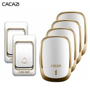 CACAZI Wireless Doorbell Chime 2-Battery-Button 4-Receiver Waterproof Smart Home EU US
