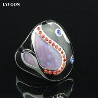 Lycoon卸売と小売316lステンレス鋼黒と紫リングカラフルなエナメルでレッドczジルコン石のリン
