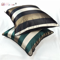 LeRadore New Nordic Style Spandex Bolster Imitate Spun Gold Striped Pattern Cushion Cover Pillow Throw for Hotel Company Car