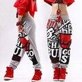 Новая мода Для Взрослых брюки бегунов звезды Штаны Pattern Костюмы Серый шаровары Hip hop танцы практика брюки