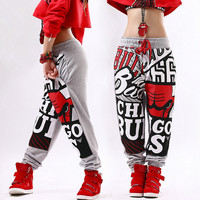 Nowe spodnie dresowe biegaczy gwiazda wzór mody dorosłych kostiumy szare spodnie harem hip hop taniec praktyka