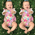 0-18M Baby Bodysuit Stylish Flower Printed Boho Body Newborn Infant Baby Girls Fluffy Sleeve Cross Back Girl Clothes Outfits