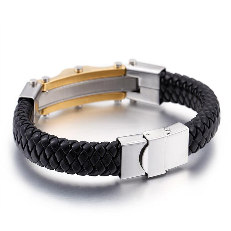 Retro punk Gold-Color Men Stainless Steel Leather Bracelet With CZ Crystal Stone Male Vintage Accessories Wia Bracelet Jewelry
