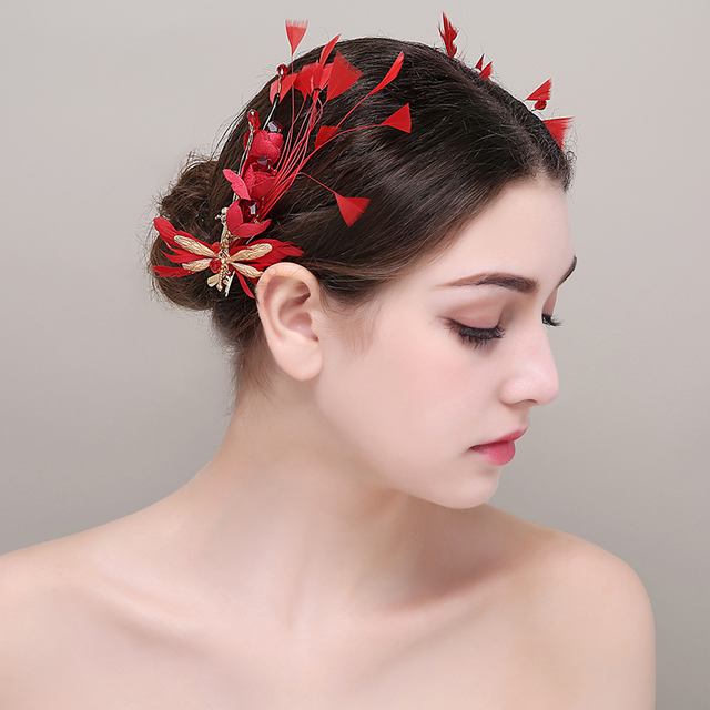 Red Flower Feather S Youth Hairpins Crystal Brides Barretes Hairpieces Wedding Bridal Hair Accessories Headdress