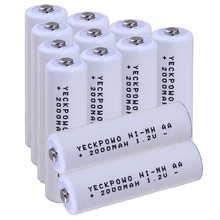 Real capacity! 12 pcs AA 1.2V NIMH rechargeable battery 2000mah for camera razor toy remote control flashlight 2A batterie