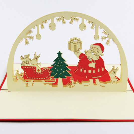 3D Santa Claus Greeting Card Postcards Handmade Card Birthday Christmas Gifts