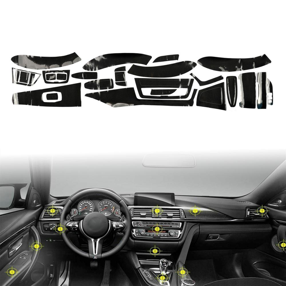 TAIHONGYUN 5D Gloss Carbon Fiber Car Interior Decal Sticker Trim Package Suit Kit Fit For BMW 3 Series F30 F31 F35 M3