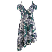 Wasteheart Summer Bohemian Green Women Long Dresses Printed Backless V Neck Holiday Sexy Plus Size Sundress Beach Style