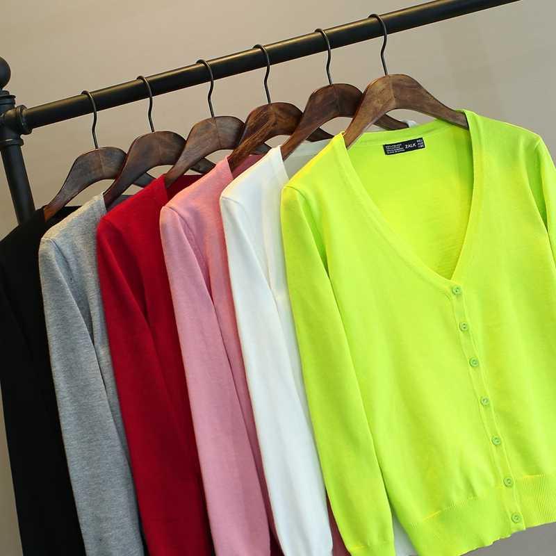 Трикотажные кардиганы 2019, летние новые модные тонкие женские свитера с v-образным вырезом и длинным рукавом TB8001