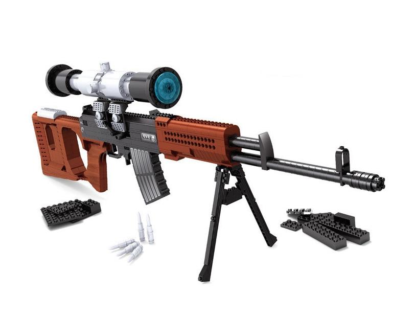 mylb new Educational Bricks DIY Toy SVD Sniper Gun Building Blocks 3D Construction Sets for Children ,scale models,3Dpuzzle цена