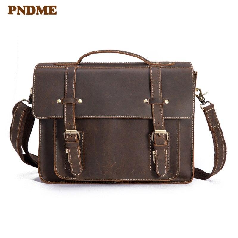 PNDME High Quality Crazy Horse Cowhide Men's Briefcase Simple Retro Genuine Leather Messenger Bags Office Business Laptop Bag