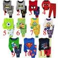 Retail 2 unids set nuevo 2014 babys de marca ropa de dormir de algodón niños Despicable Me pijamas niñas spiderman niños ropa pijama