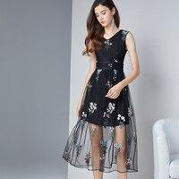 Sheer вышивка цветок Платья для вечеринок Bodycon Оболочка черный сетки кружева сексуальные платье с русалочкой Лето рукавов женские Костюмы