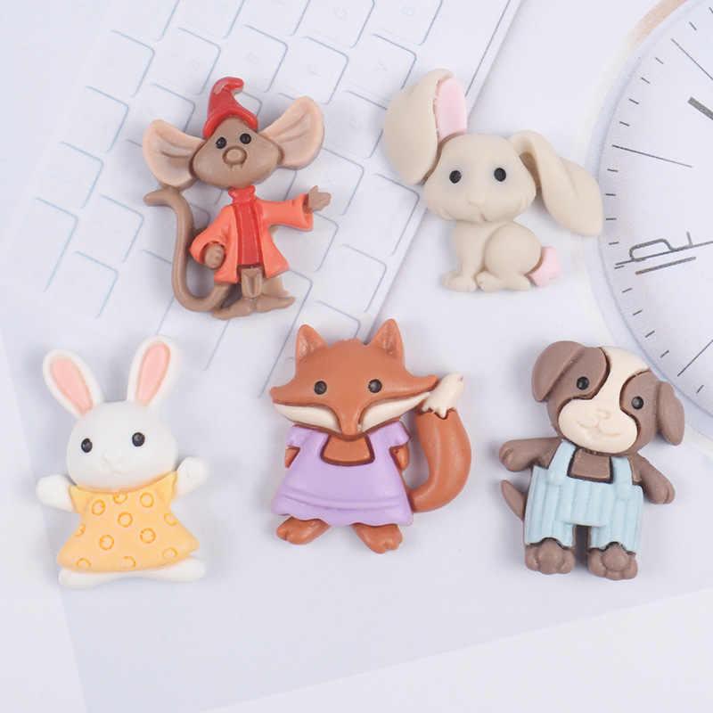 Cabochon en résine à dos plat, Kawaii, accessoires pour décoration d'animaux, bricolage, Scrapbooking, Center de cheveux pour enfants, 10 pièces