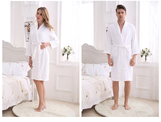 Cotton Bathrobe Toweling Robe Lovers Bathrobe Men Women Spring ...
