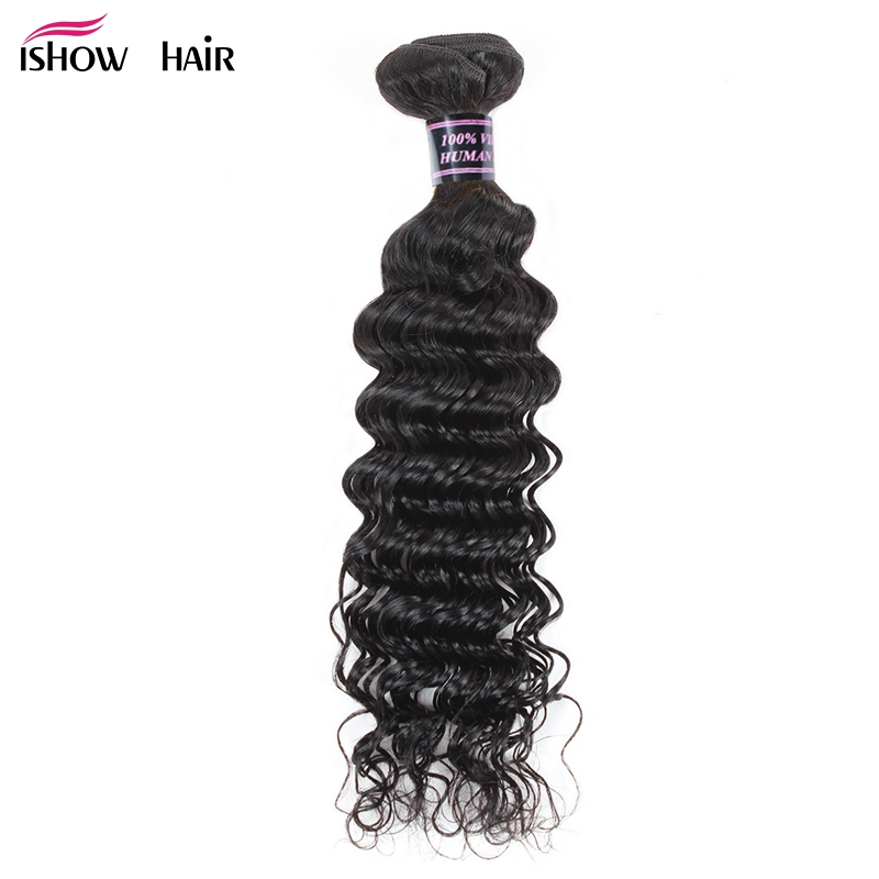 Ishow Malaysian Deep Wave Human Hair Weave Bundles Natural Non Remy Hair Weaving Machine Double Weft Hair Extensions No Tangle