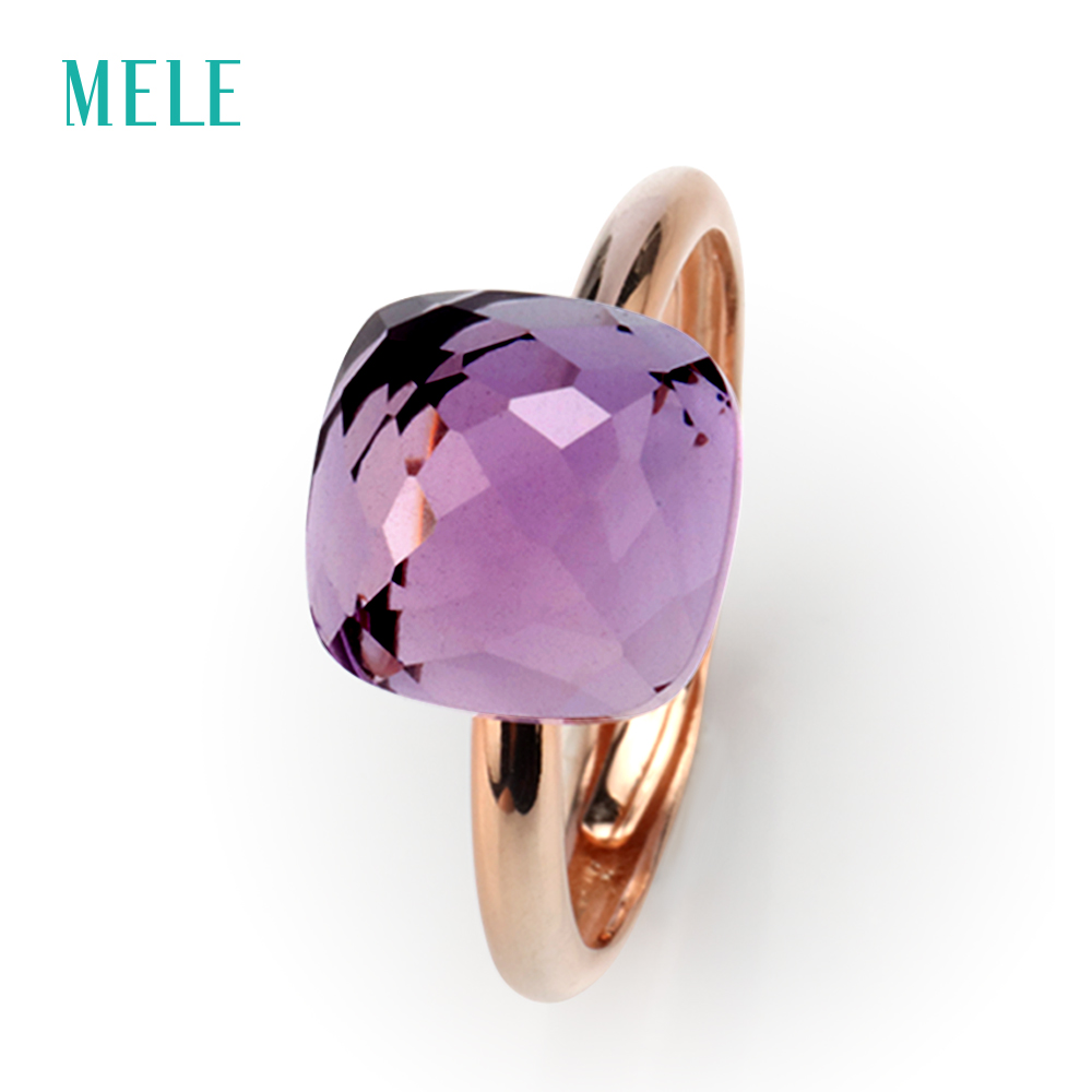 MELE Natural ametista anel de prata, almofada 10mm * 10mm, cor púrpura, habilidade de corte profissional, moda e jóias brilhantes