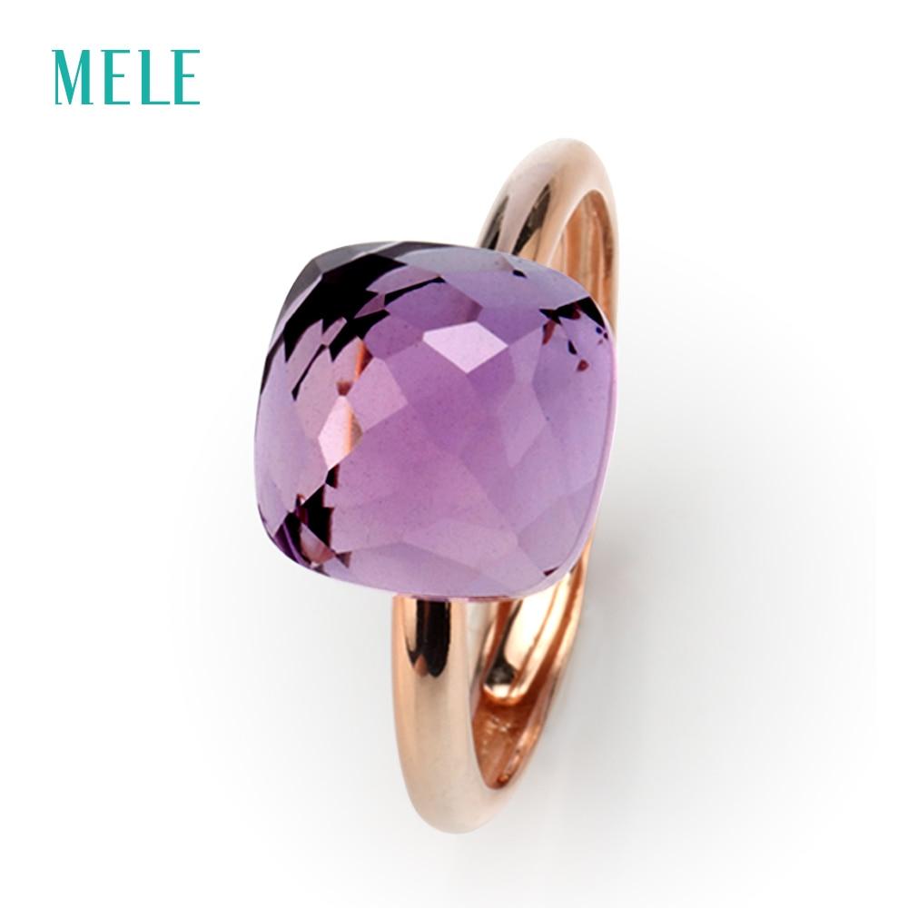 MELE anillo de plata amethyst Natural, cojín 10mm * 10mm, profundo color púrpura, corte profesional habilidad, la moda y brillante joyería