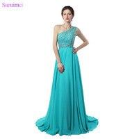 Mint Green Color Evening Dresses One Shoulder Floor Length Beaded Crystals Chiffon Evening Gown Vestidos De
