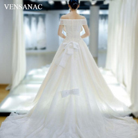 VENSANAC 2018 Sequined V Neck Ball Gown Lace Wedding Dresses Vintage Short Sleeve Bow Court Train Bridal Gowns