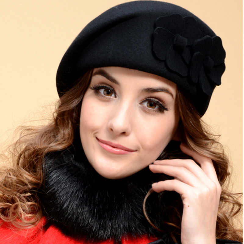 100% Wool Women Fashion Fedoras Lady Elegant British Style Double Flower Beret Hats Painter Cap for Spring Fall Winter Season