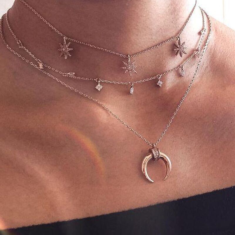 Vedawas Vintage Metal Moon Necklaces & Pendants Fashion Simple Mulit-layer Chains Necklace Boho Ethnic Style Jewelry xg1242