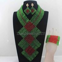 2016 New Green/Red Costume Bridal Indian Jewelry Set Women Fashion Jewellery Trends Traditonal Wedding Beads Free ShippingHD7709
