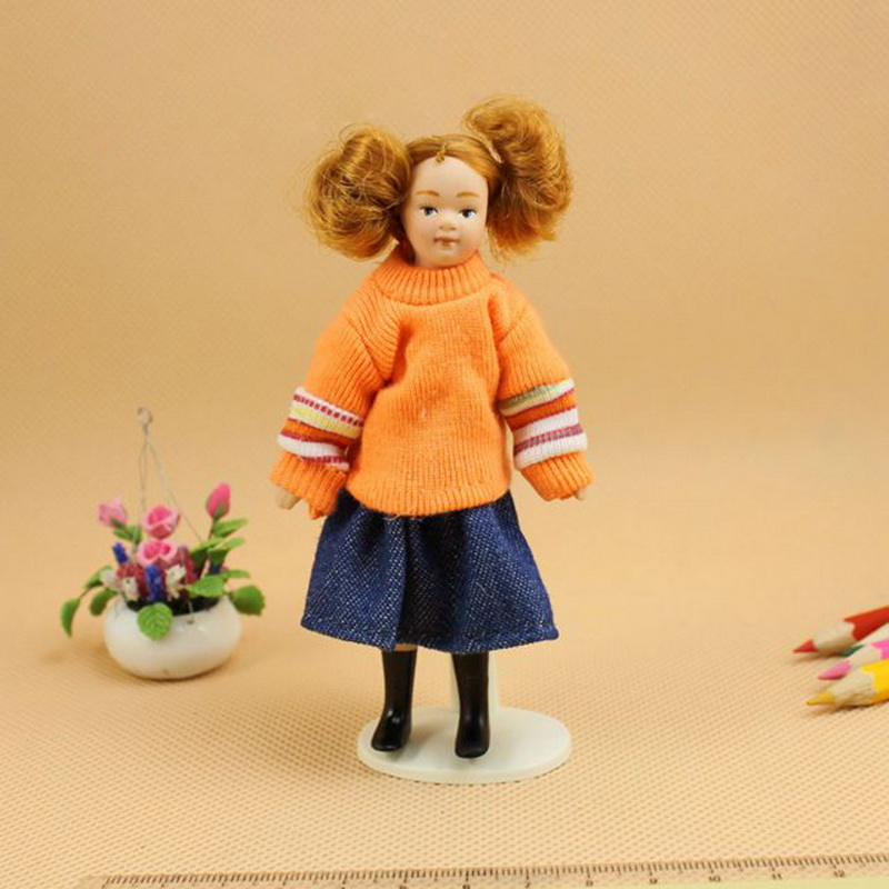 1Pcs 1:12 Dollhouse Miniature Porcelain Fashion Tied Pigtail Girls Dolls Model Playing Crafts Dolls