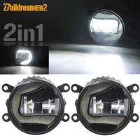 Buildreamen2 2 in 1 Car LED Projector Fog Light + Daytime Running Light DRL White 12V Accessories For Citroen C5 2004 2015