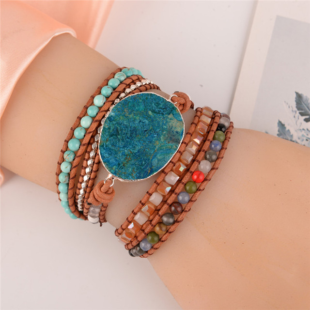 Latest 2018 - 5X Leather Wrap Beaded Bracelet Huge OceanStone Bracelet, Boho Chic Jewelry, Bohemian Bracelet Valentine's Gift! 3